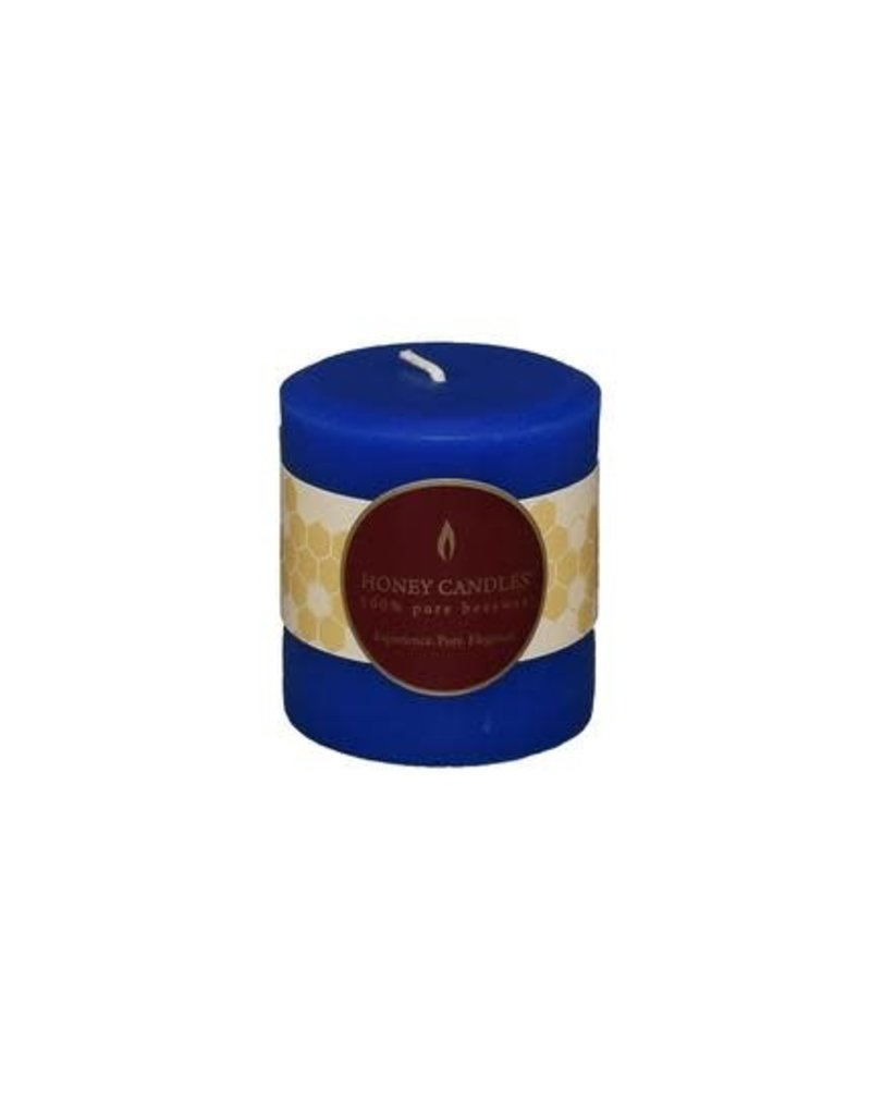 "Honey Candles Blue 3"" Round Beeswax Pillar"