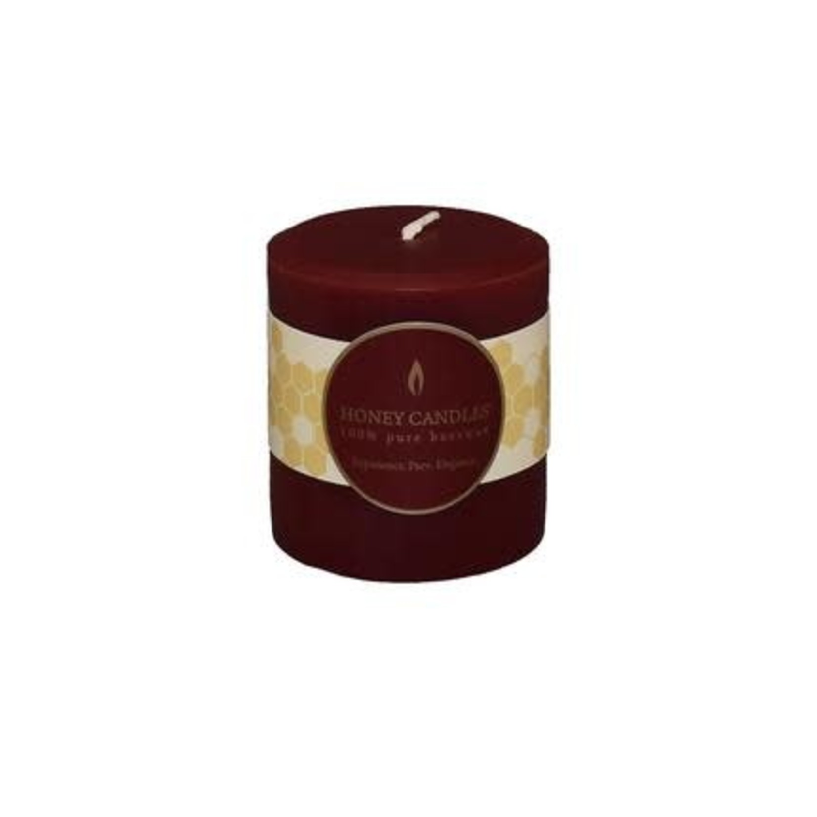 "HONEY CANDLES 3"" ROUND BEESWAX PILLAR - BURGUNDY"