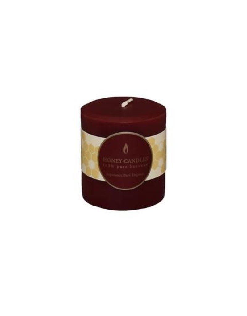 "HONEY CANDLES Burgundy 3"" Round Beeswax Pillar"