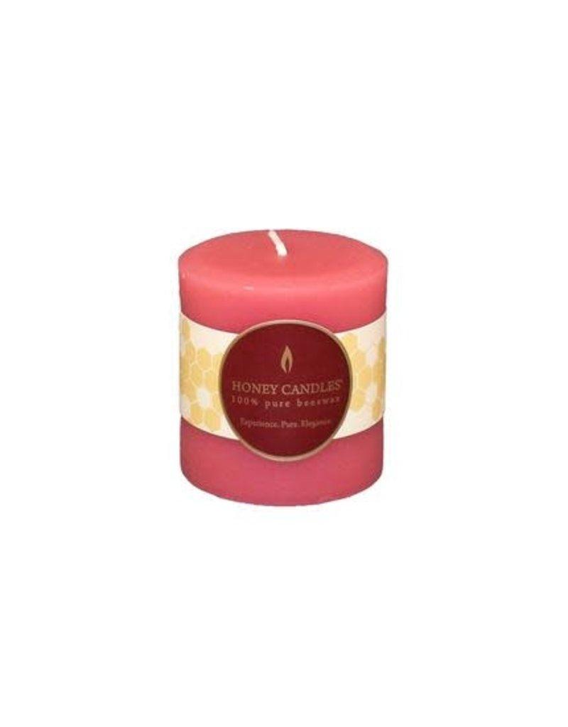 "Honey Candles Paris Pink 3"" Round Beeswax Pillar"