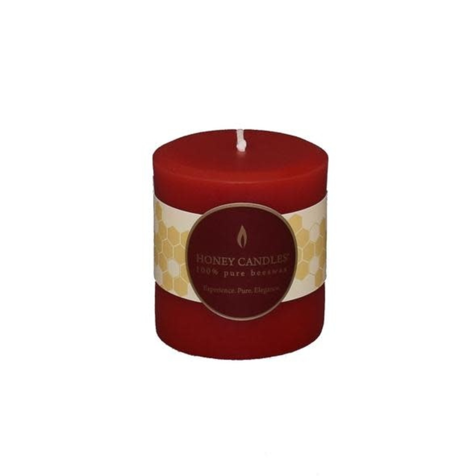 "HONEY CANDLES Red 3"" Round Beeswax Pillar"