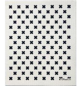 TEN AND CO. Sponge Cloth Tiny X White + Black