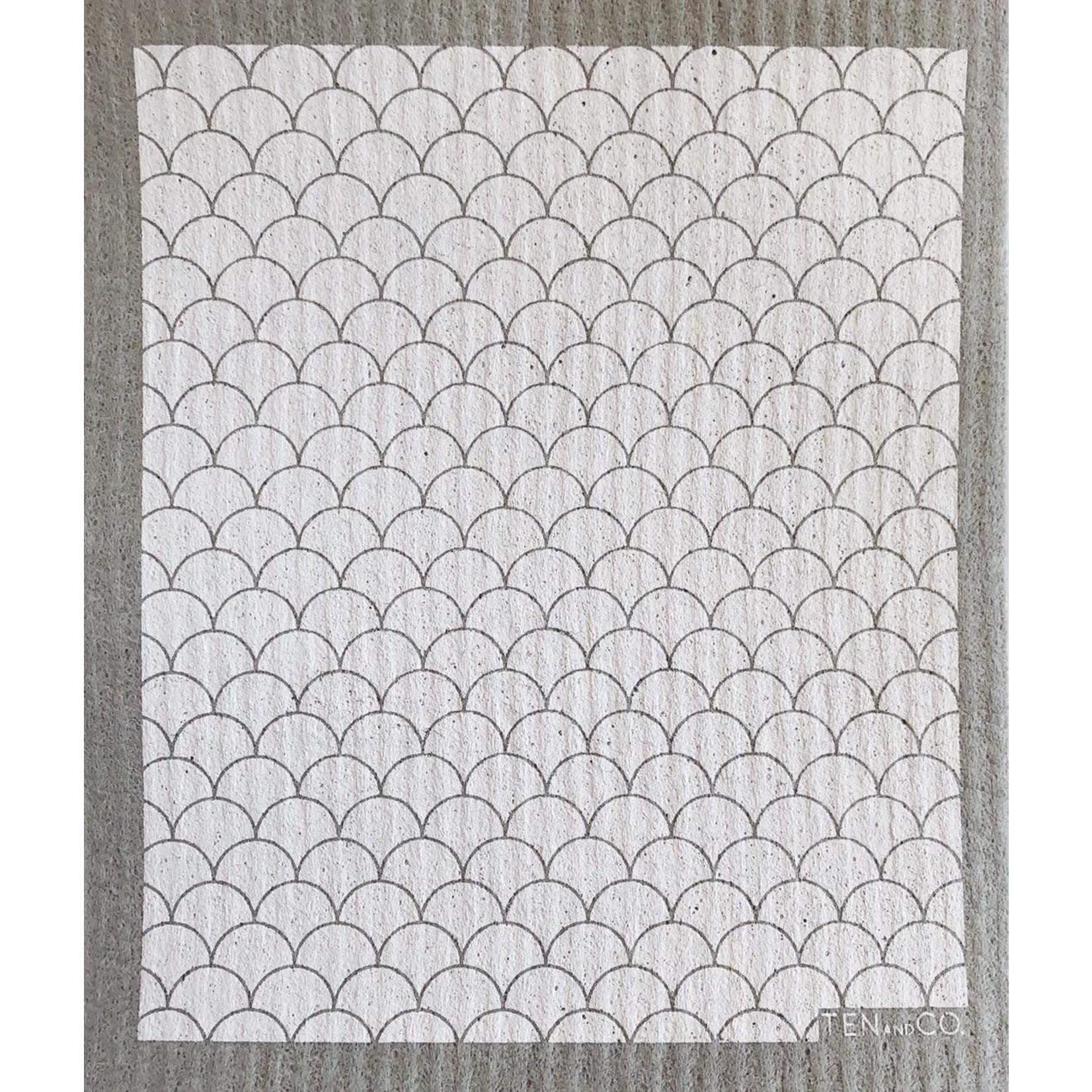 TEN AND CO. Sponge Cloth Scallop White + Grey