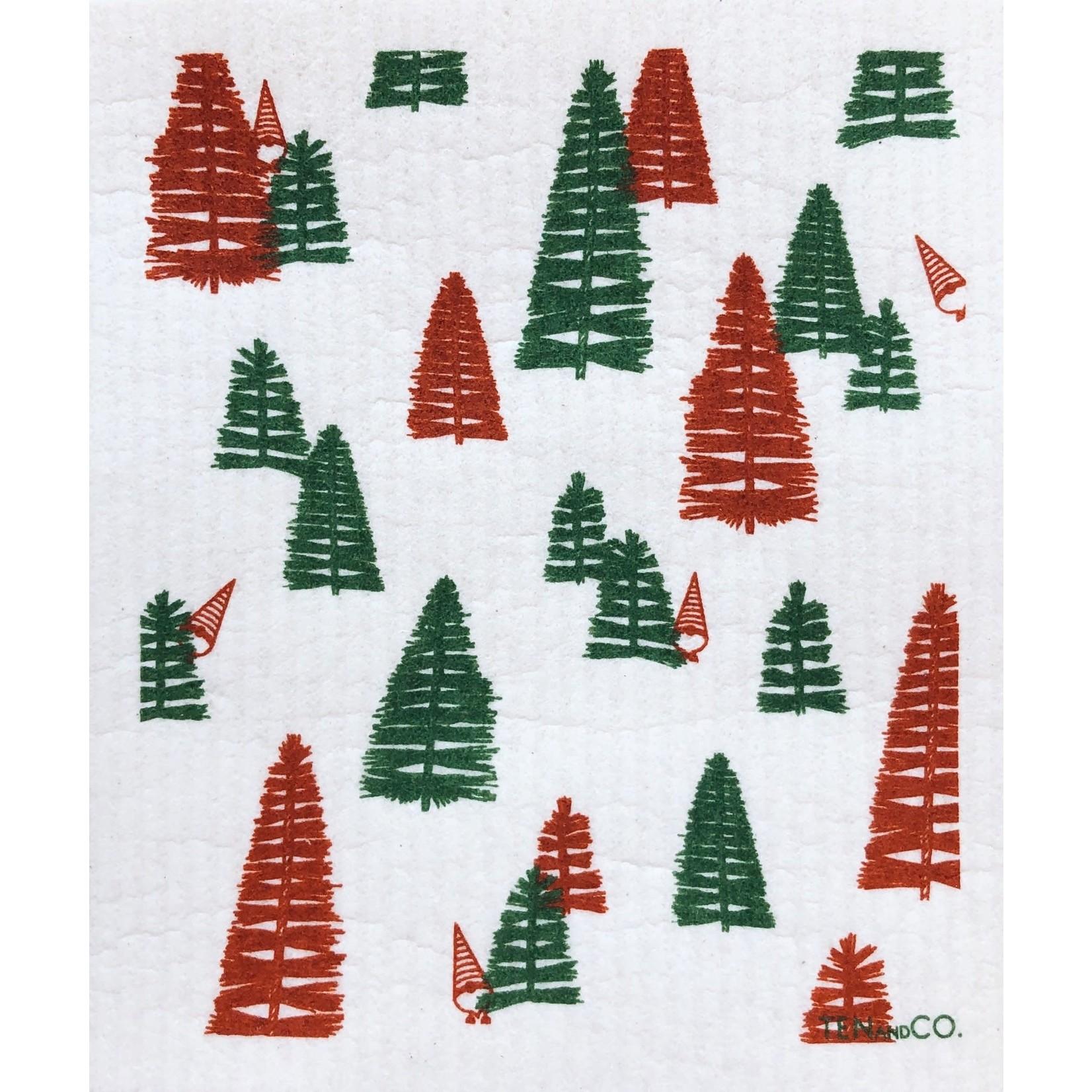 TEN AND CO. Sponge Cloth Woods Rust Red + Green