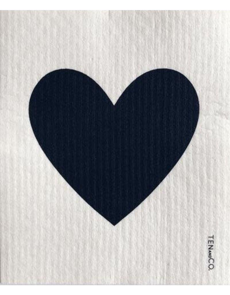 TEN AND CO. Sponge Cloth Big Love Black on White