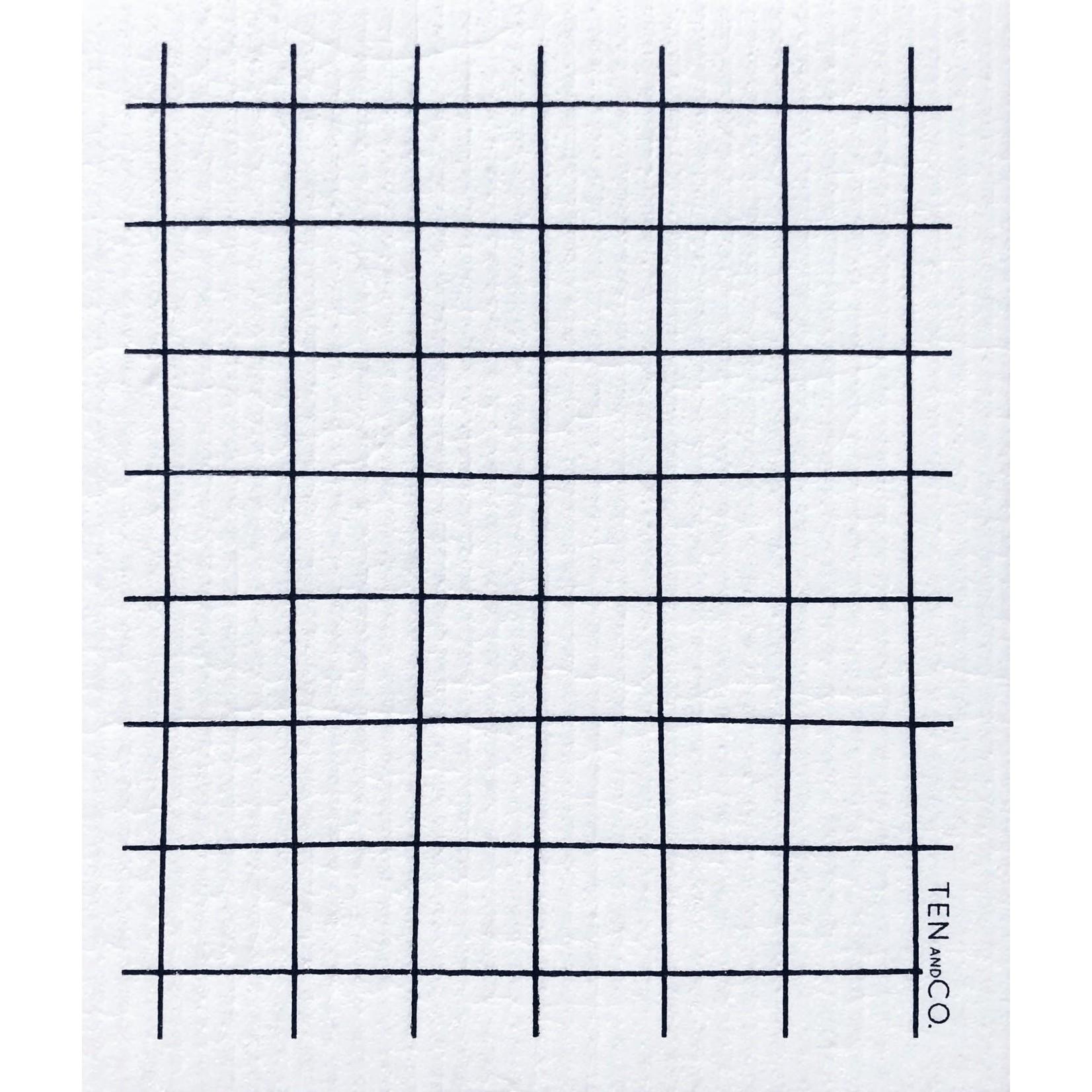 TEN AND CO. Sponge Cloth Grid Black