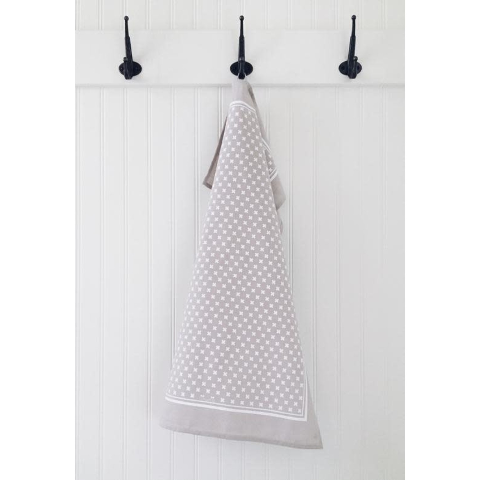 TEN AND CO. TEA TOWEL - TINY X WHITE ON GREY