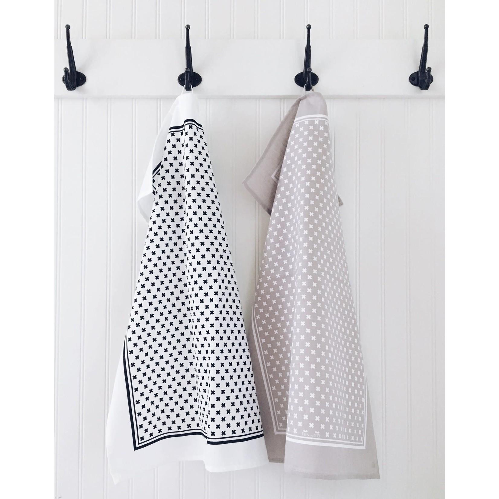 TEN AND CO. TEA TOWEL - TINY X WHITE ON GREY