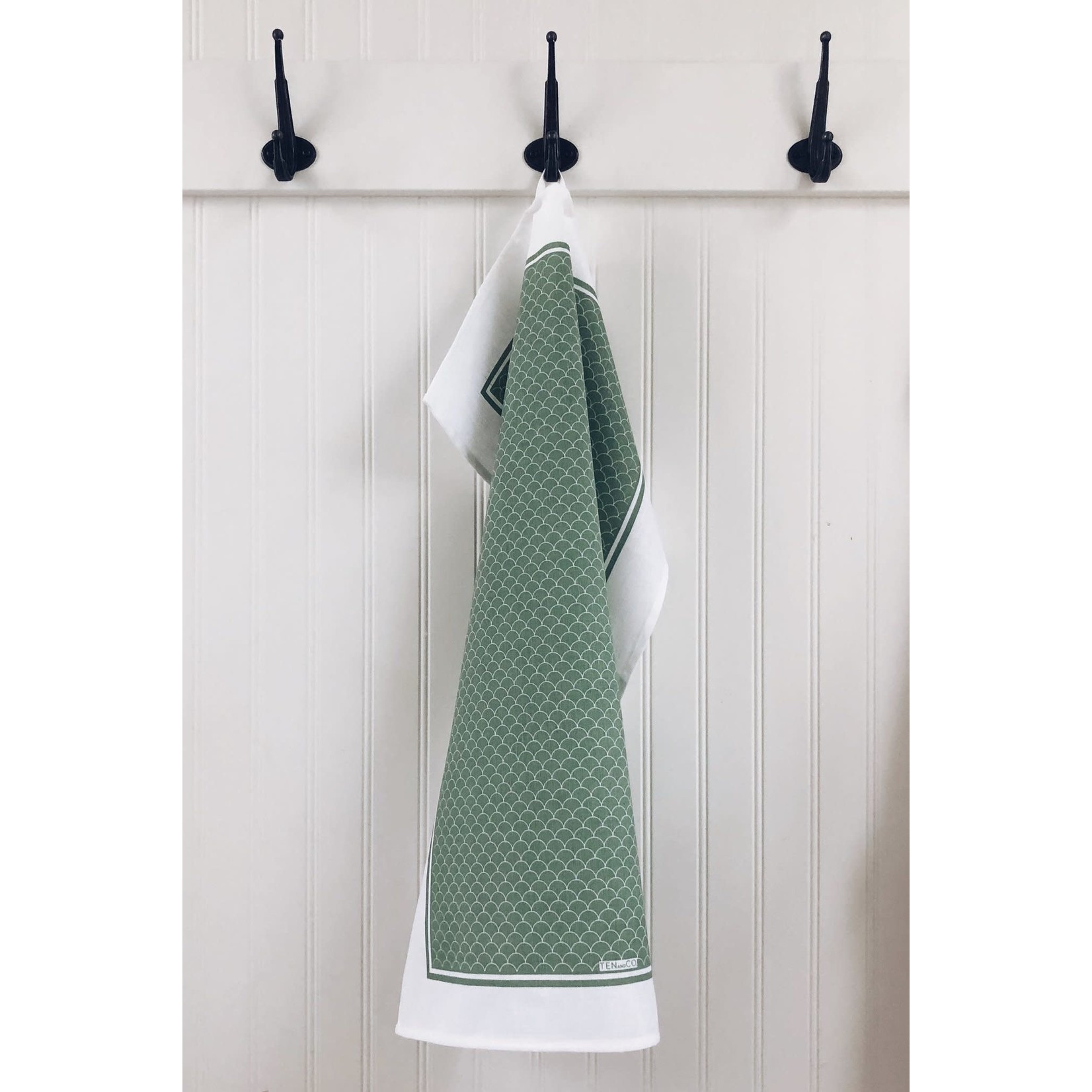 TEN AND CO. TEA TOWEL - SCALLOP SAGE