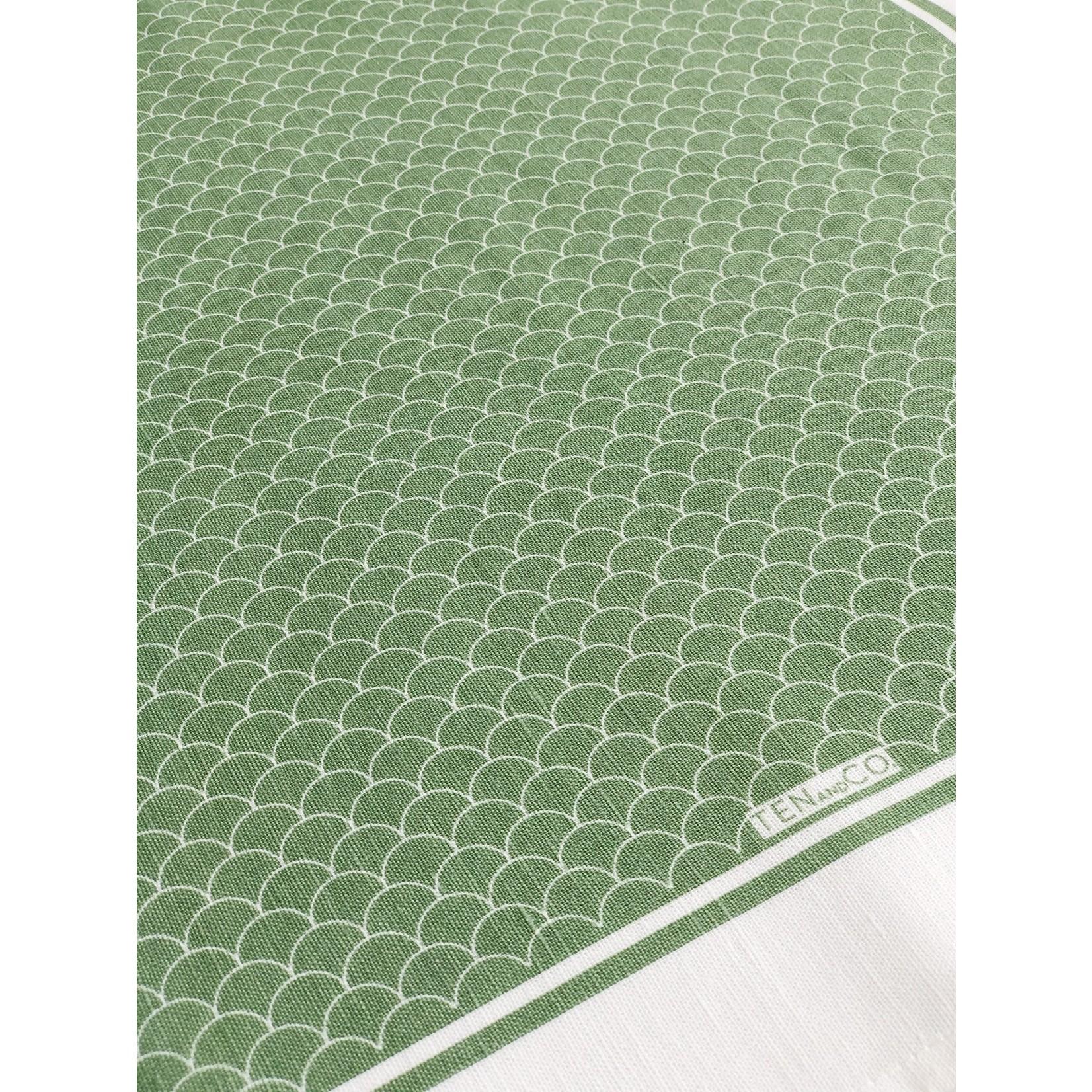 TEN AND CO. TEA TOWEL - SCALLOP SAGE