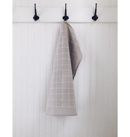 TEN AND CO. TEA TOWEL - GRID WHITE ON GREY
