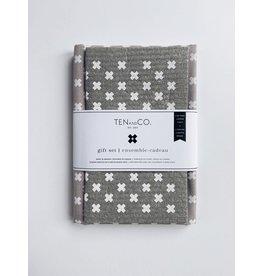 Ten and Co. Gift Set Tiny X White on Grey