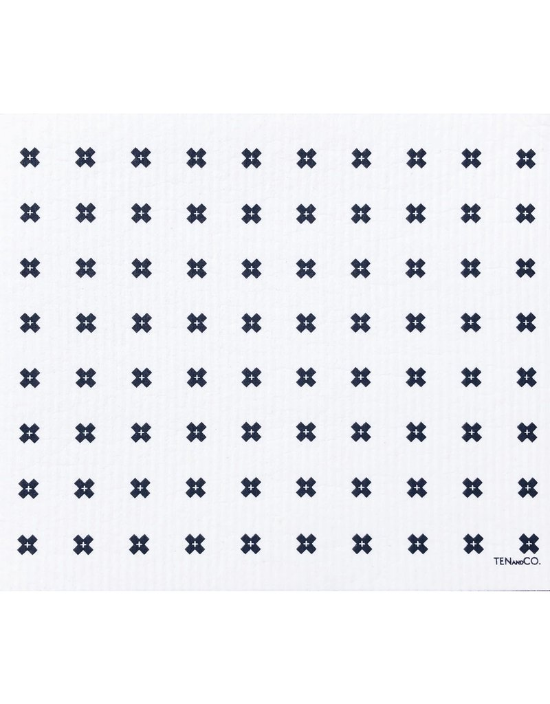 TEN AND CO. LARGE SPONGE CLOTH MAT - TINY X WHITE