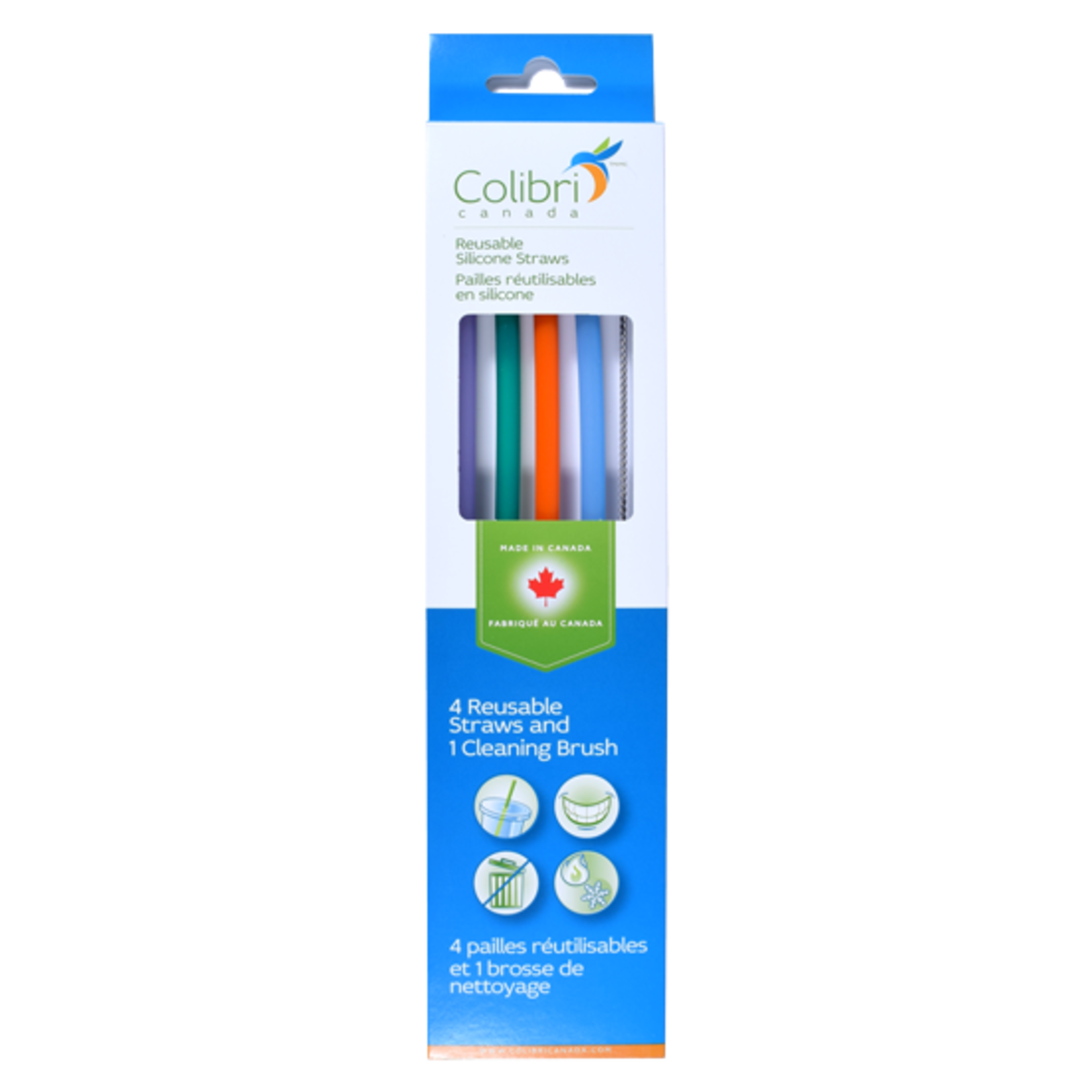 REUSABLE SILICONE STRAWS - 4 PACK