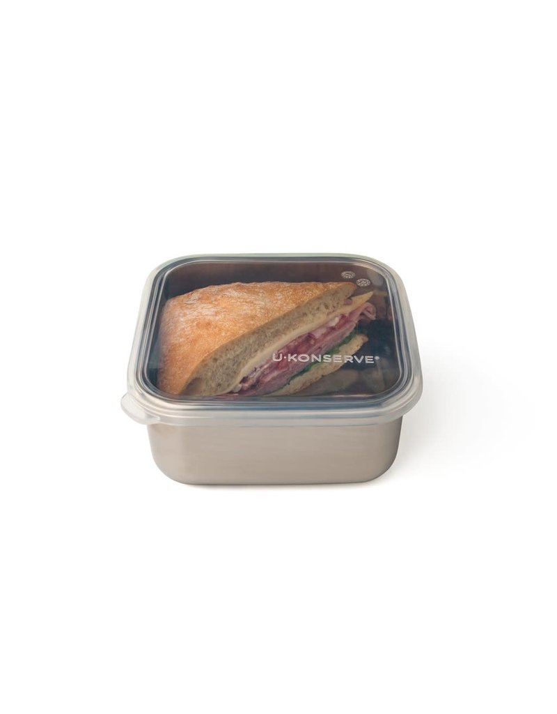 U-KONSERVE SQUARE TO-GO CONTAINER MEDIUM - CLEAR SILICONE (30oz)