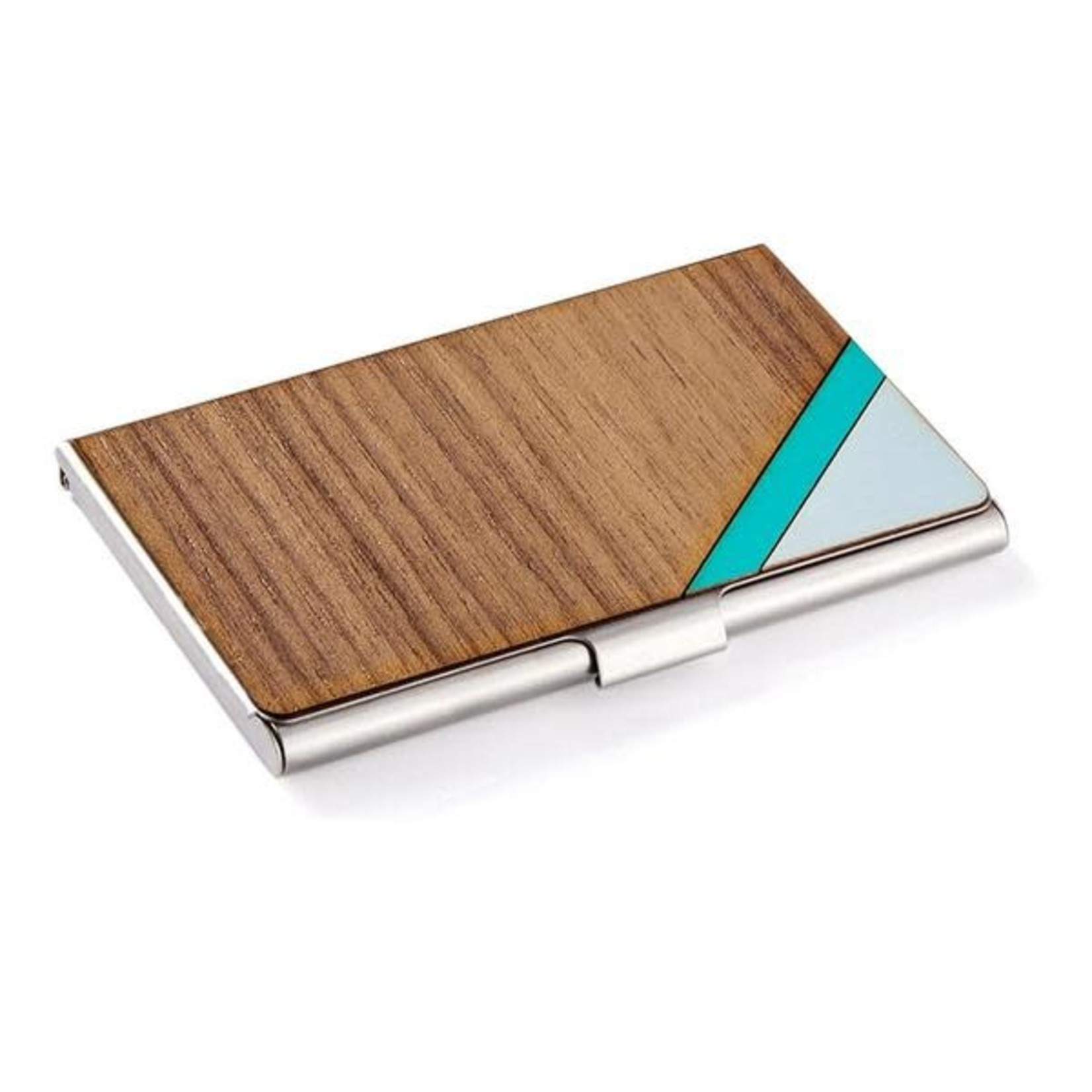 CARD CASE - STRIPE TEAL