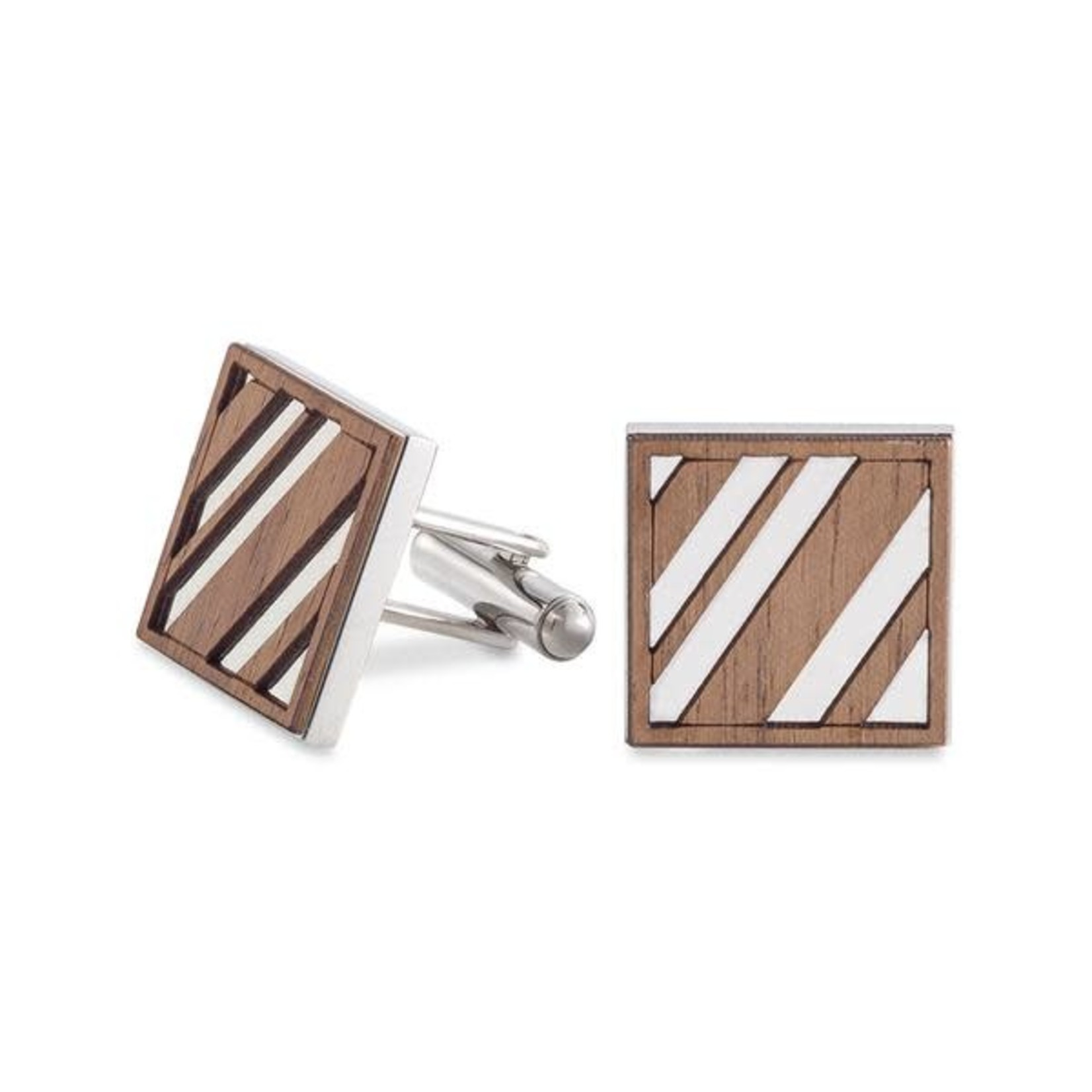 CUFFLINKS - DIAGONAL LINES WALNUT