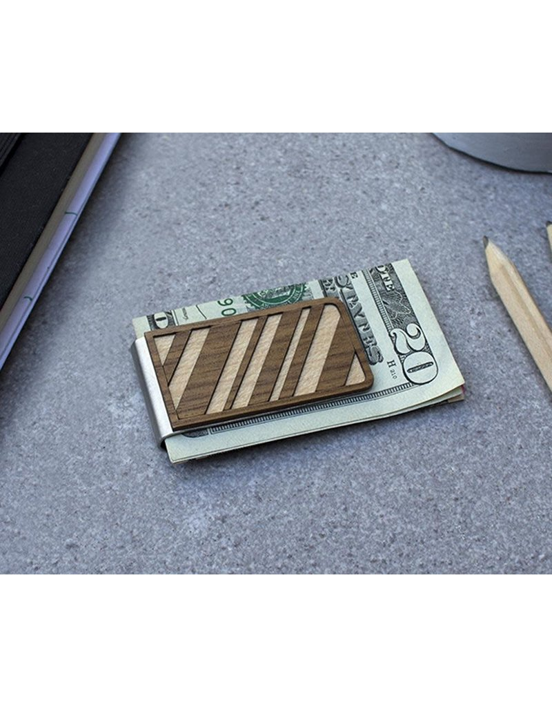 MONEY CLIP - DIAGONAL LINES