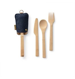BAMBU Bamboo Travel Cutlery Set Denim