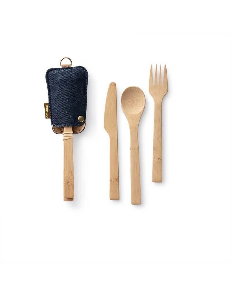 BAMBU Bamboo Travel Cutlery Set Denim