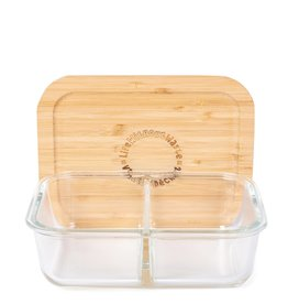 LIFE WITHOUT WASTE DIVIDED GLASS CONTAINER - SMALL 2 COMPARTMENT