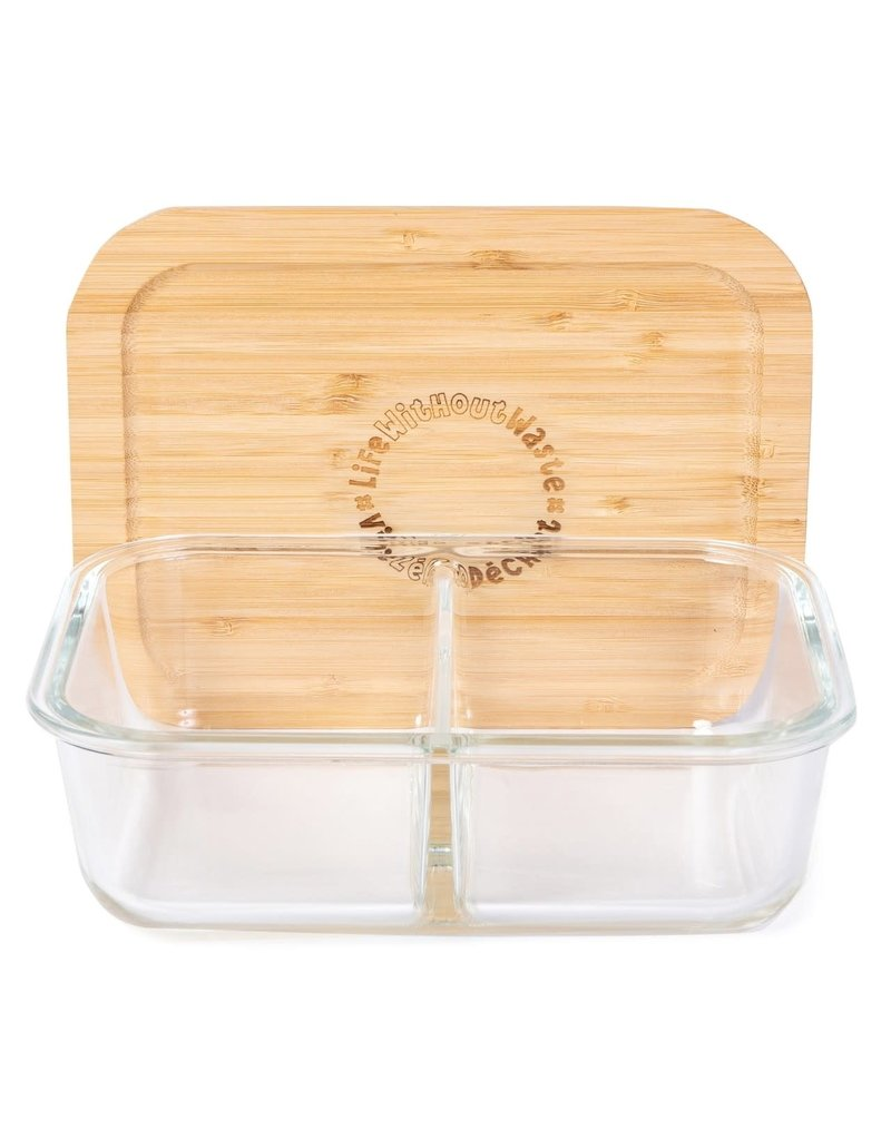 LIFE WITHOUT WASTE DIVIDED GLASS CONTAINER - LARGE 2 COMPARTMENT