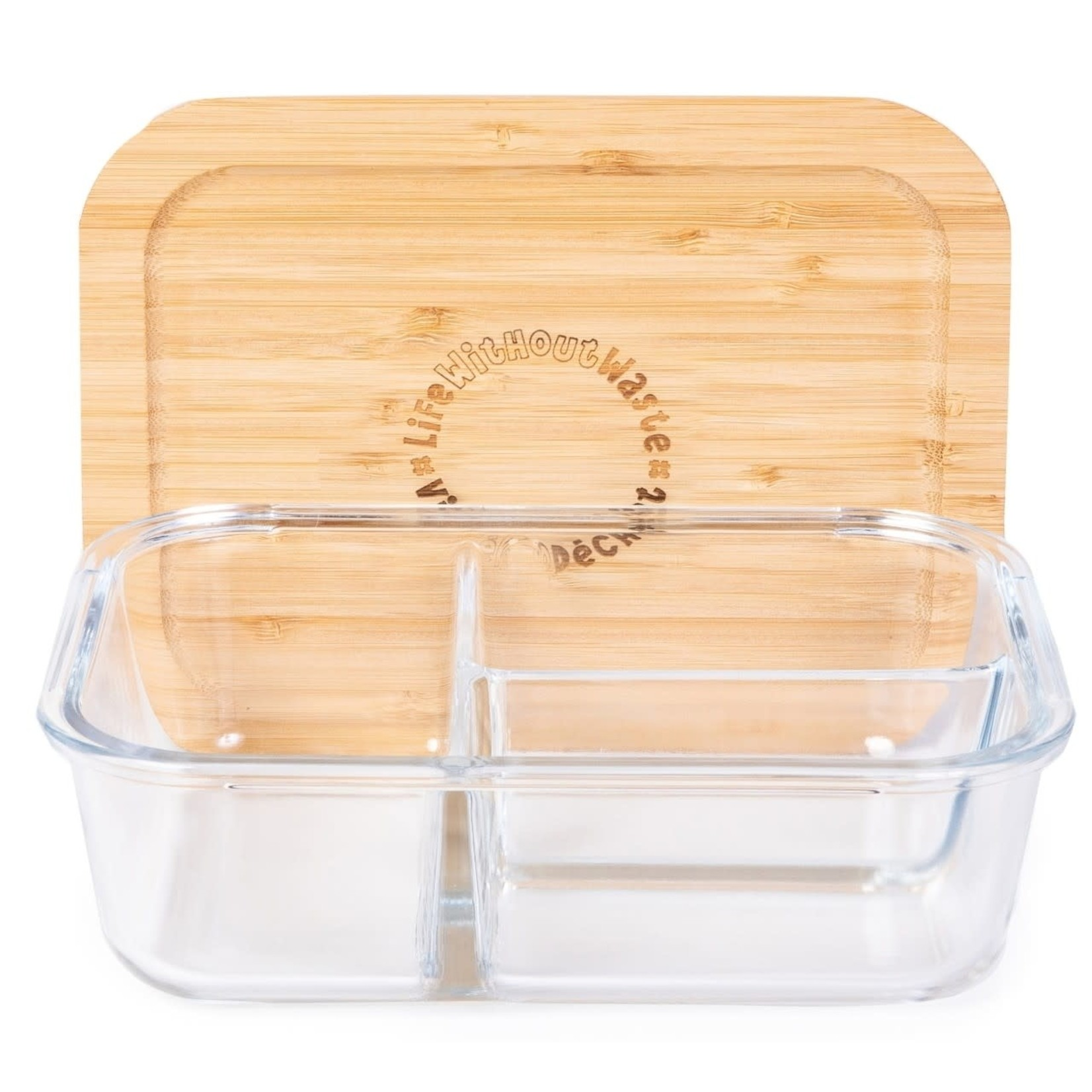 LIFE WITHOUT WASTE DIVIDED GLASS CONTAINER - LARGE 3 COMPARTMENT