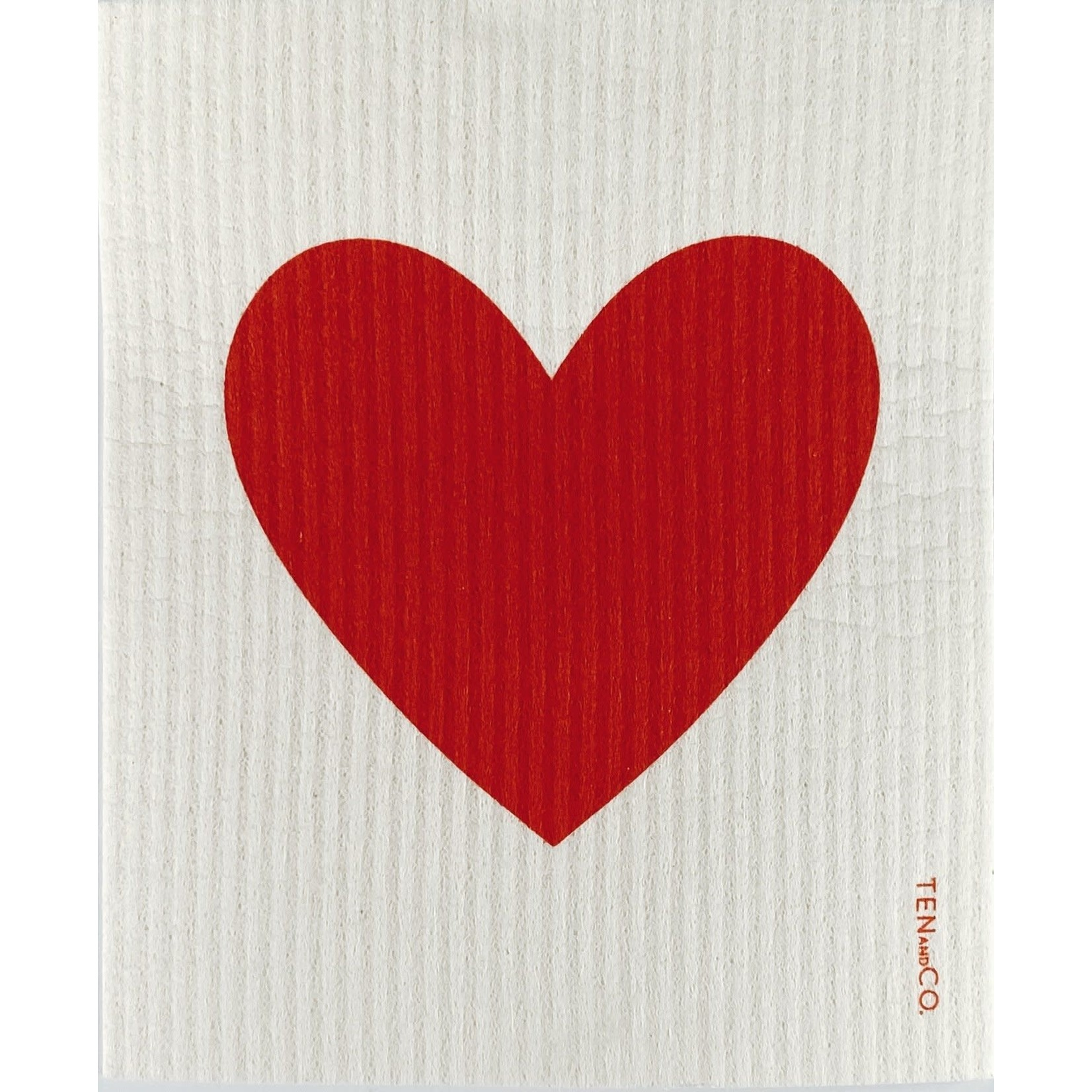 TEN AND CO. SPONGE CLOTH - BIG LOVE BRIGHTER RED