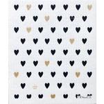 TEN AND CO. SPONGE CLOTH - TINY HEARTS BLACK + GOLD