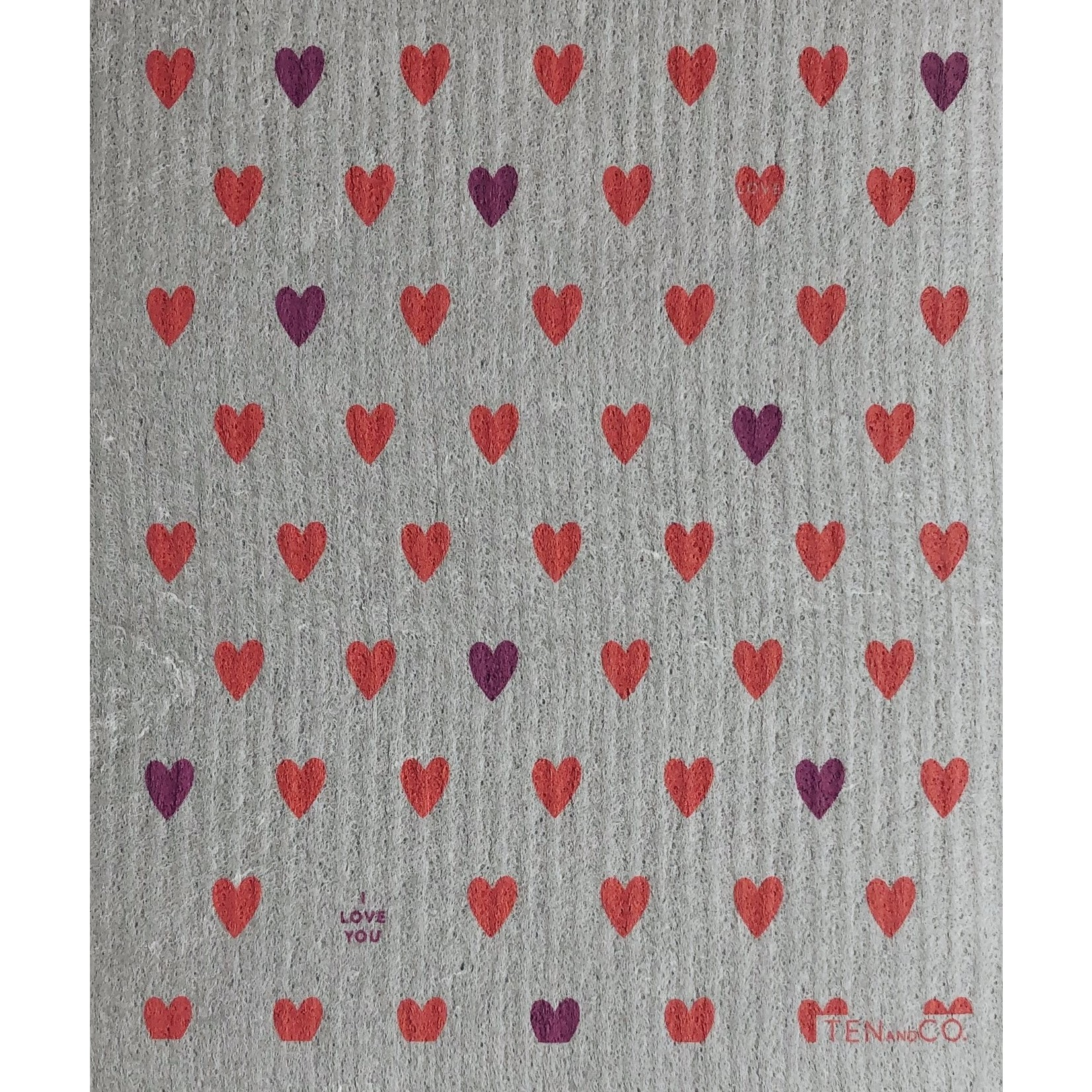 TEN AND CO. SPONGE CLOTH - TINY HEARTS CORAL ON GREY