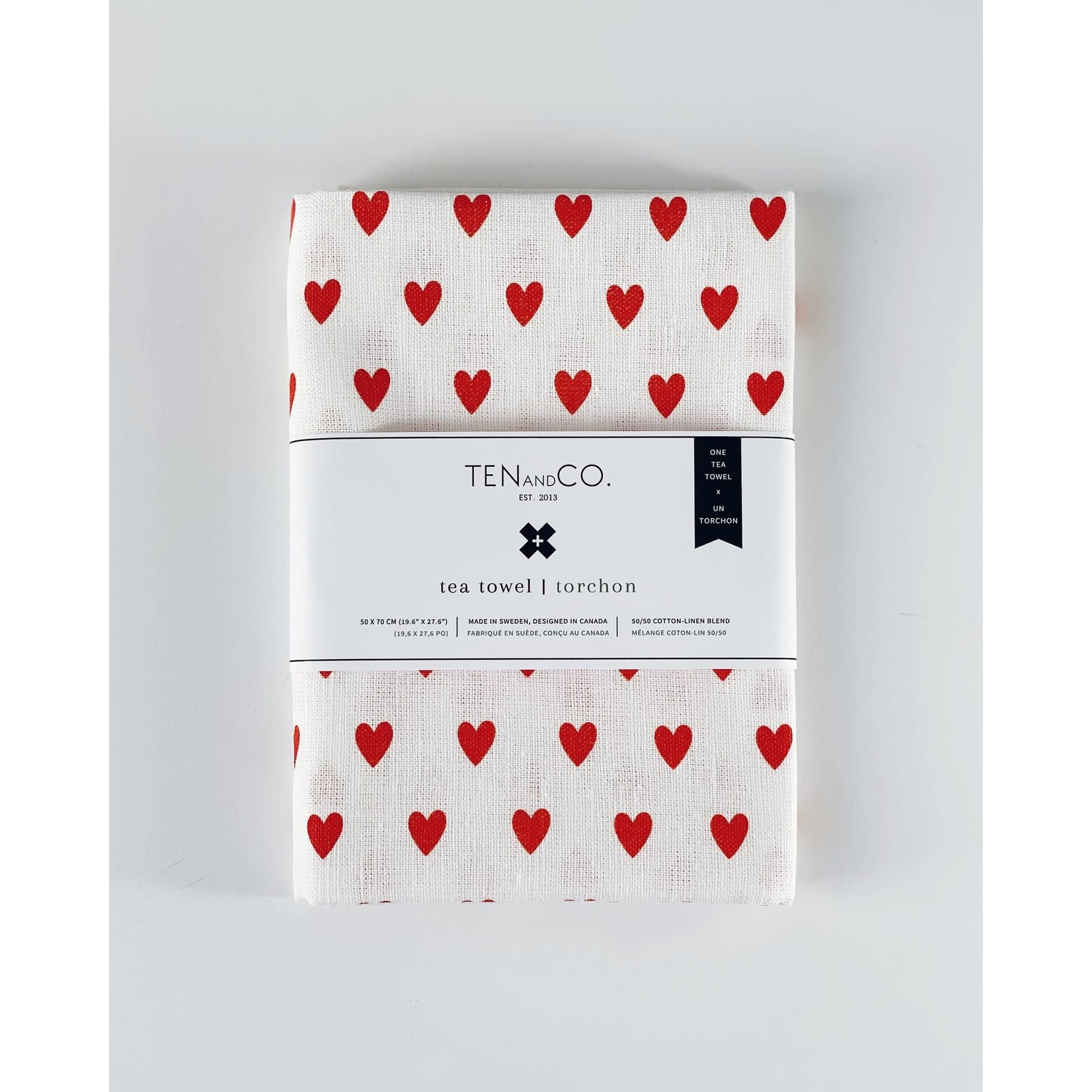 TEN AND CO. TEA TOWEL - TINY HEARTS BRIGHT RED