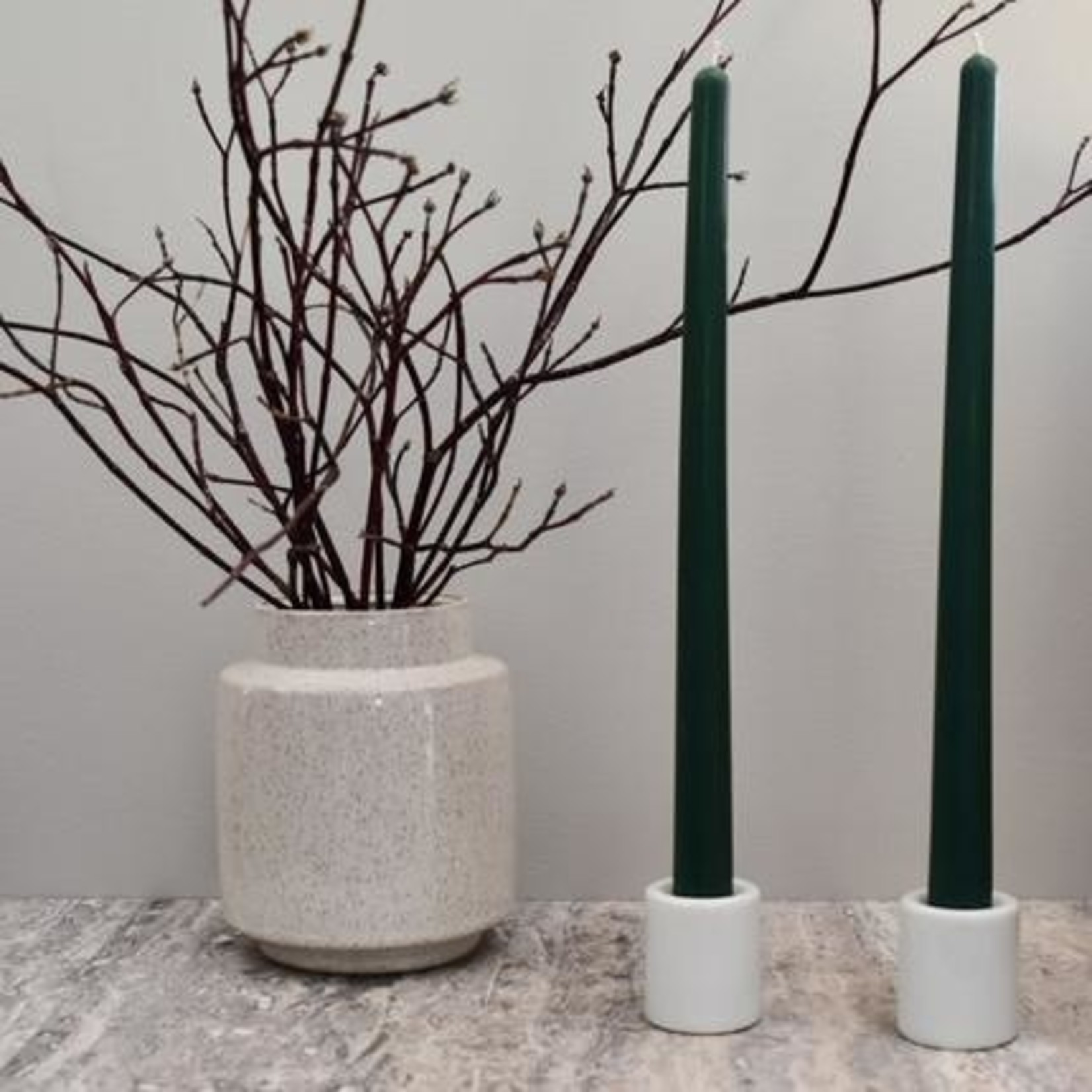 """HONEY CANDLES 12"""" BEESWAX TAPER PAIR - FOREST GREEN"""