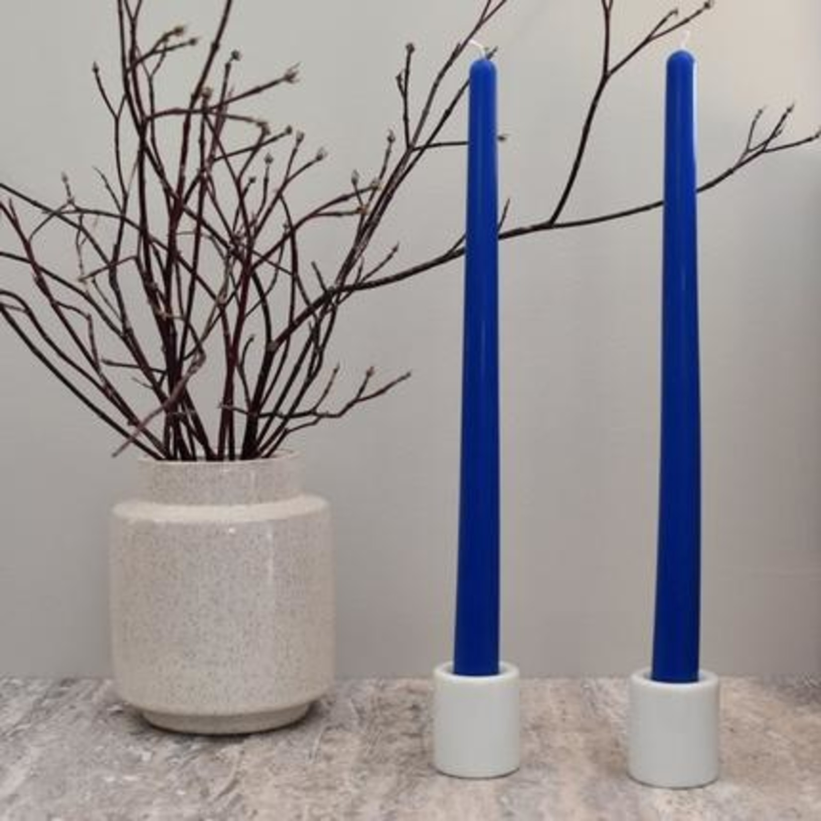"""HONEY CANDLES 12"""" BEESWAX TAPER PAIR - BLUE"""
