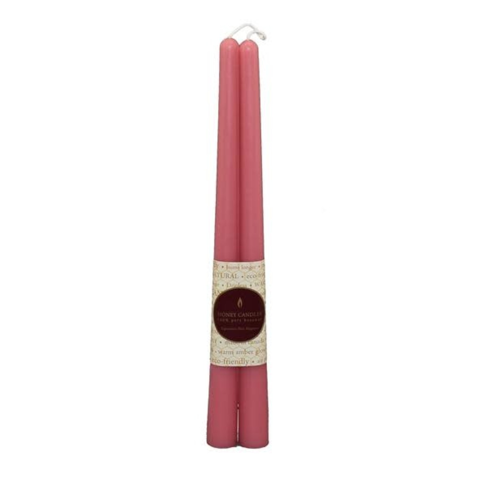 "HONEY CANDLES 12"" BEESWAX TAPER PAIR - PARIS PINK"