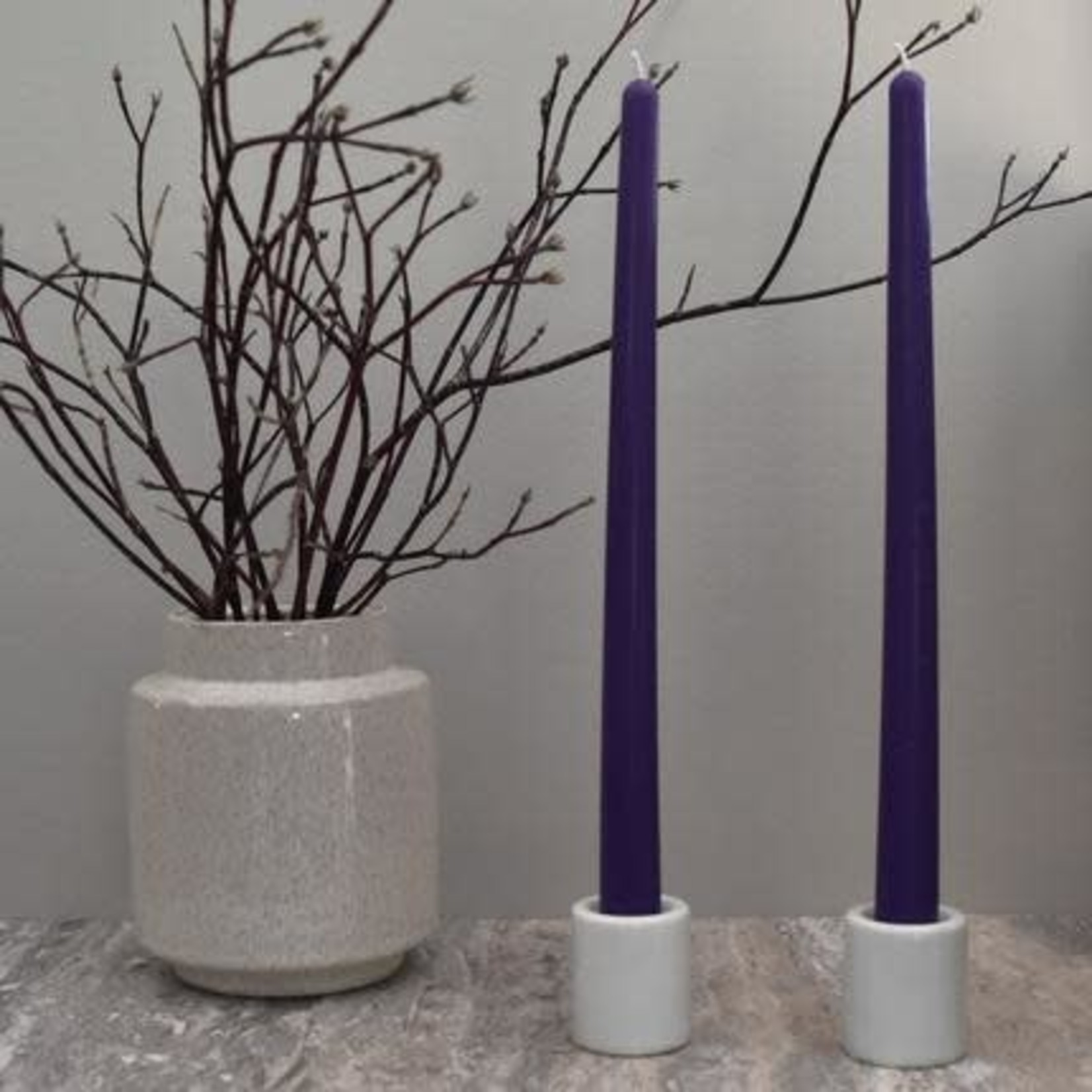 "HONEY CANDLES 12"" BEESWAX TAPER PAIR - VIOLET"
