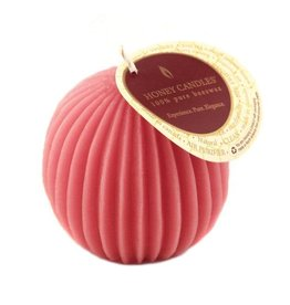 HONEY CANDLES FLUTED BEESWAX SPHERE - PARIS PINK