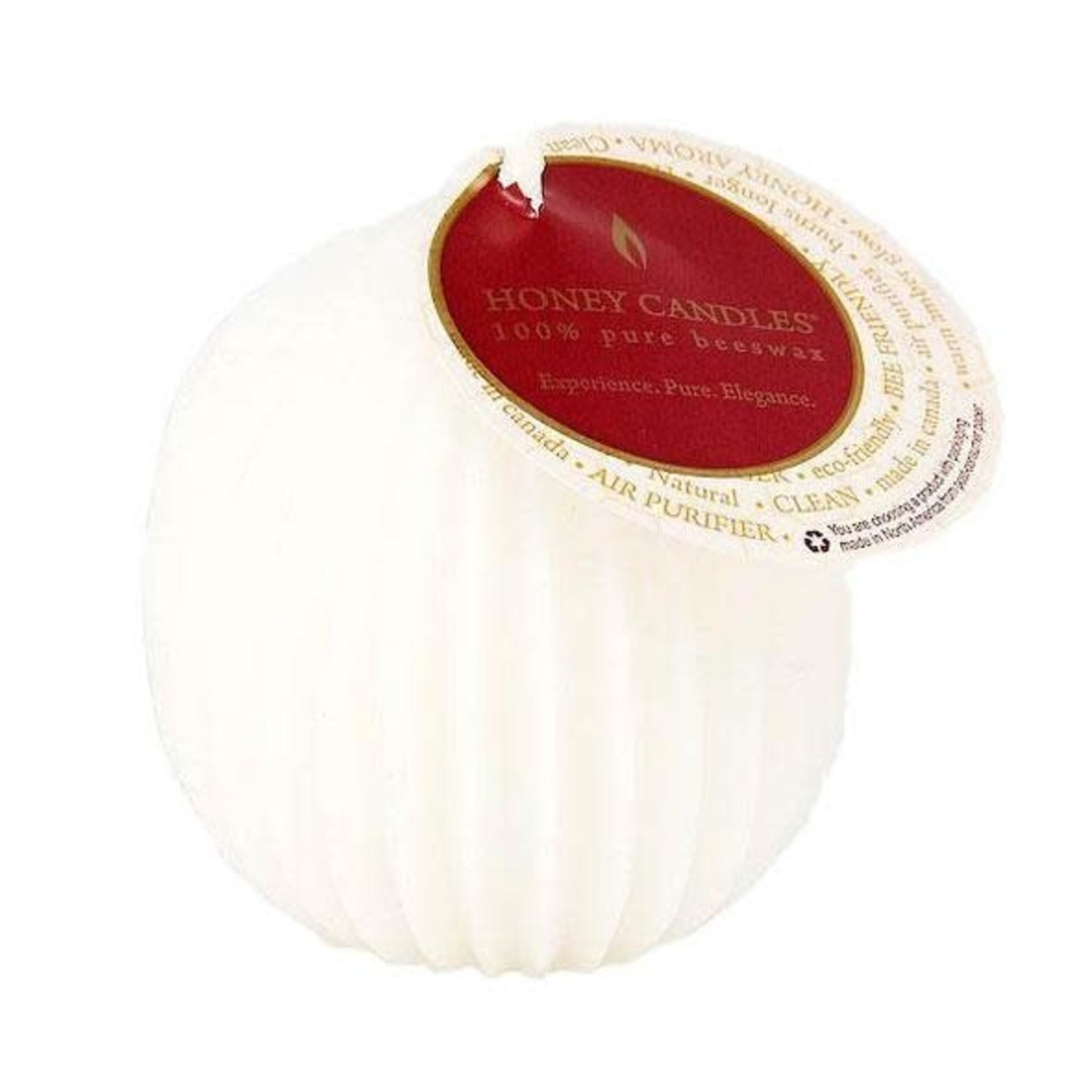 HONEY CANDLES FLUTED BEESWAX SPHERE - PEARL