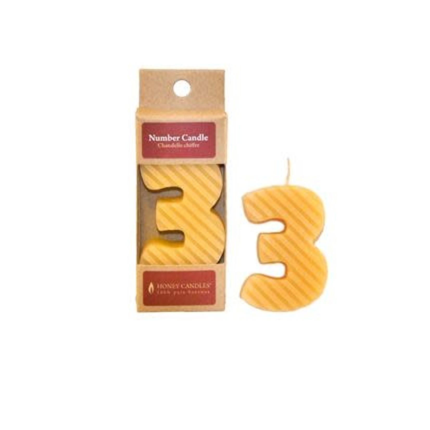 HONEY CANDLES NUMBER 3 BEESWAX CANDLE