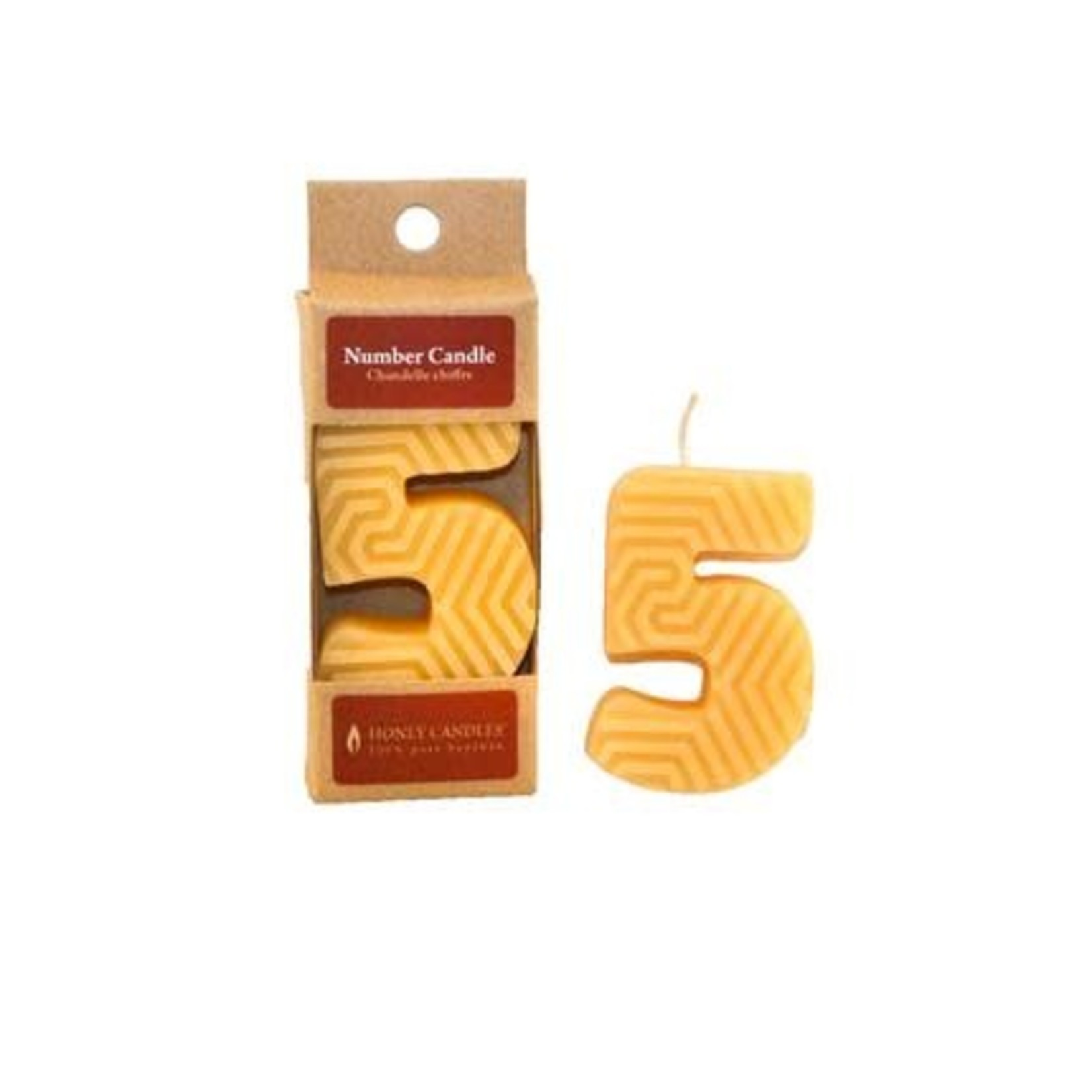 HONEY CANDLES NUMBER 5 BEESWAX CANDLE