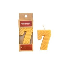 HONEY CANDLES NUMBER 7 BEESWAX CANDLE