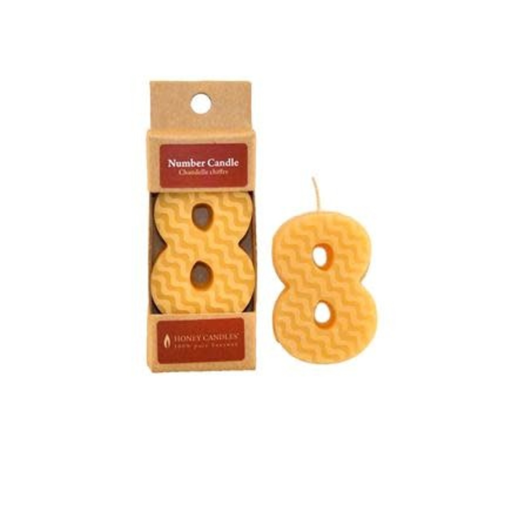 HONEY CANDLES NUMBER 8 BEESWAX CANDLE