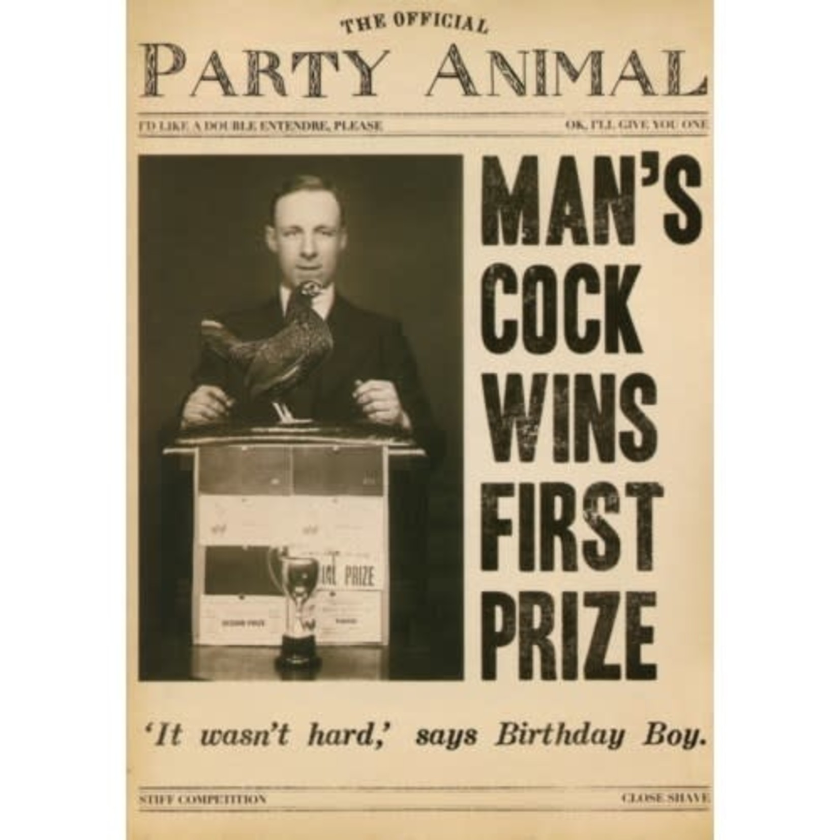 COCK WINS FIRST PRIZE CARD
