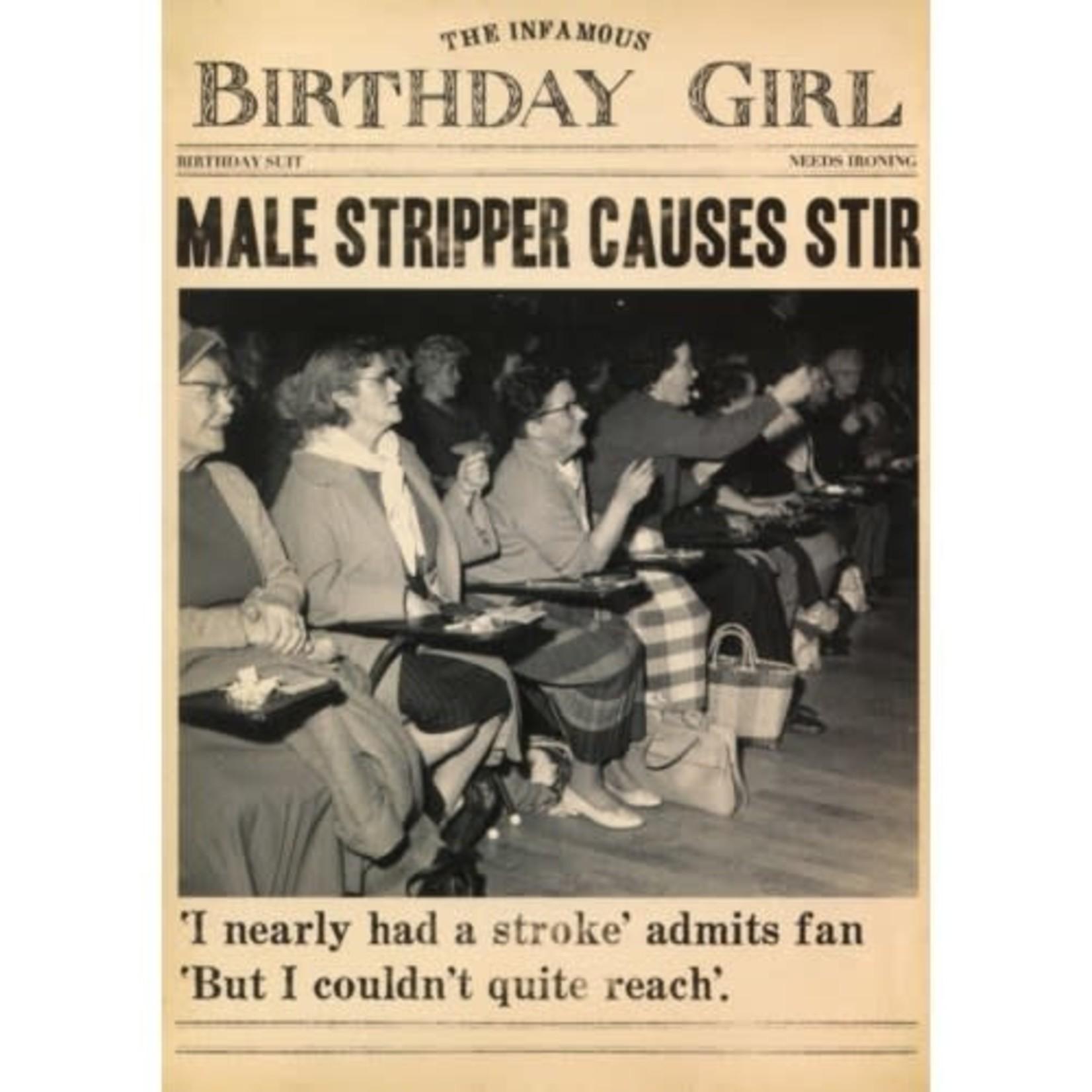 MALE STRIPPER CAUSES STIR CARD