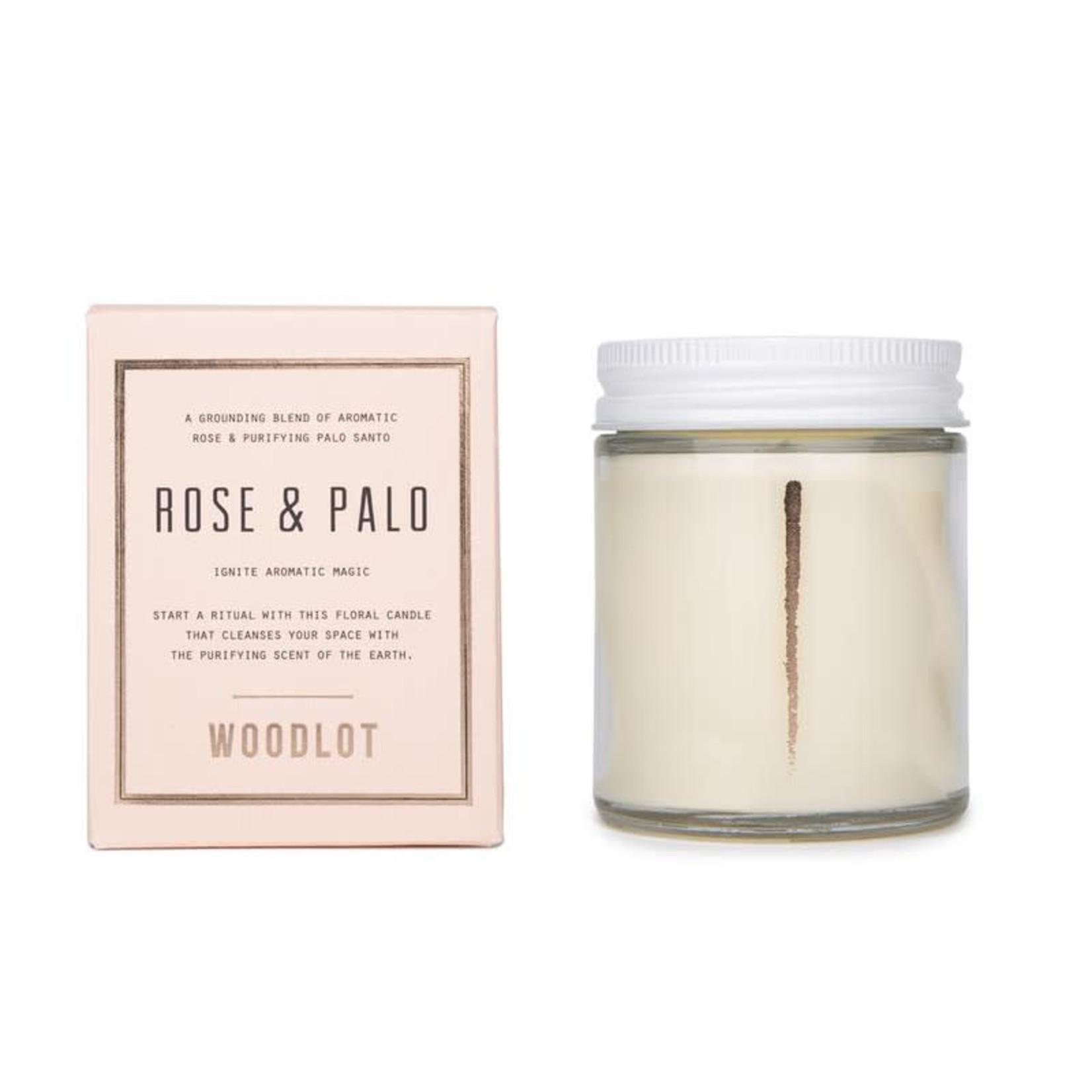 WOODLOT 8OZ CANDLE - ROSE + PALO