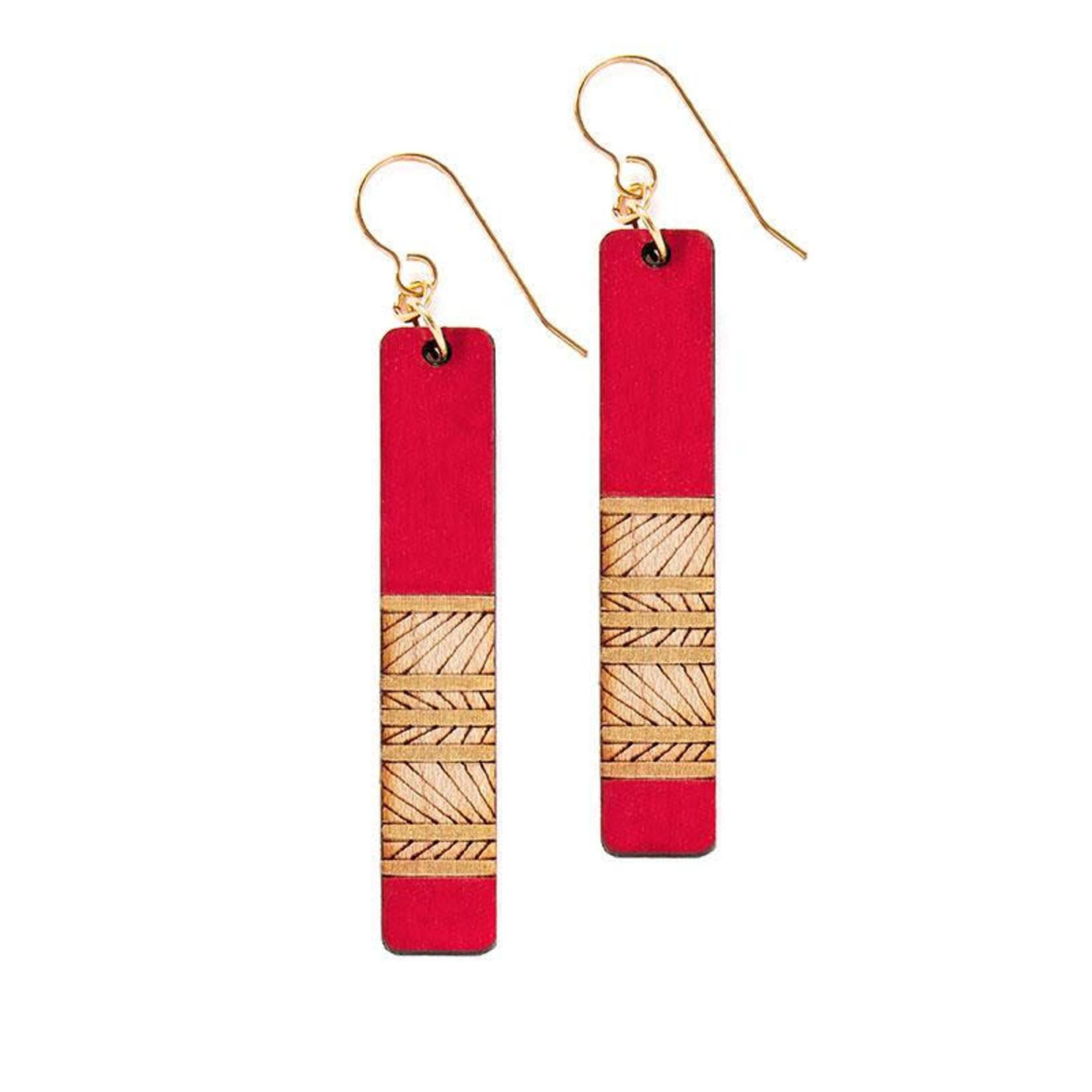 TREELINE AND TIDE LINES LONG EARRINGS - RED