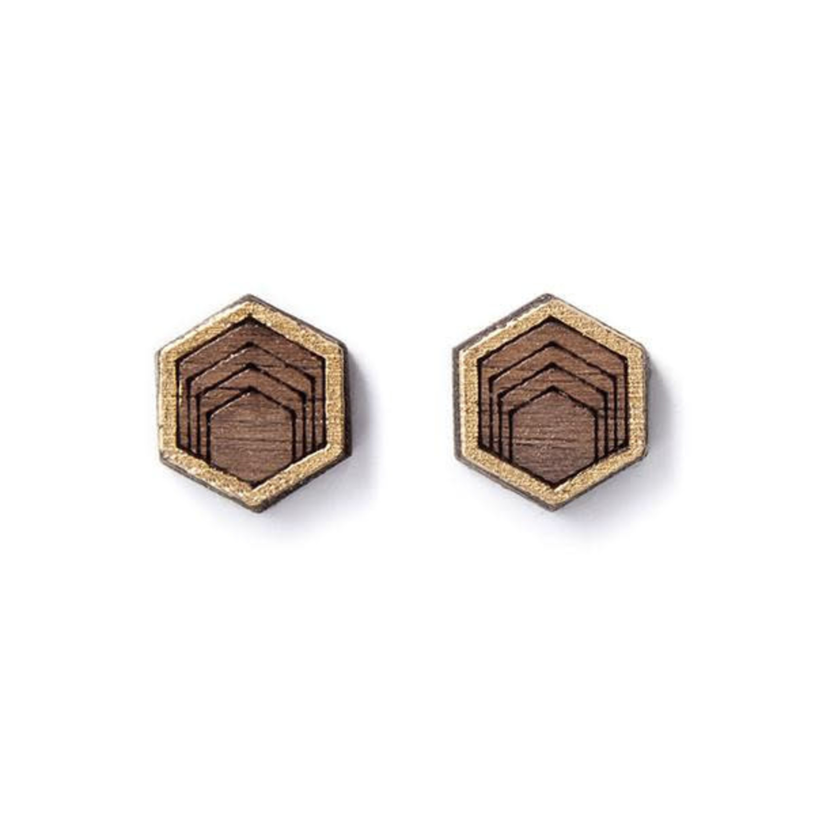 TREELINE AND TIDE HEX STUDS - GOLD