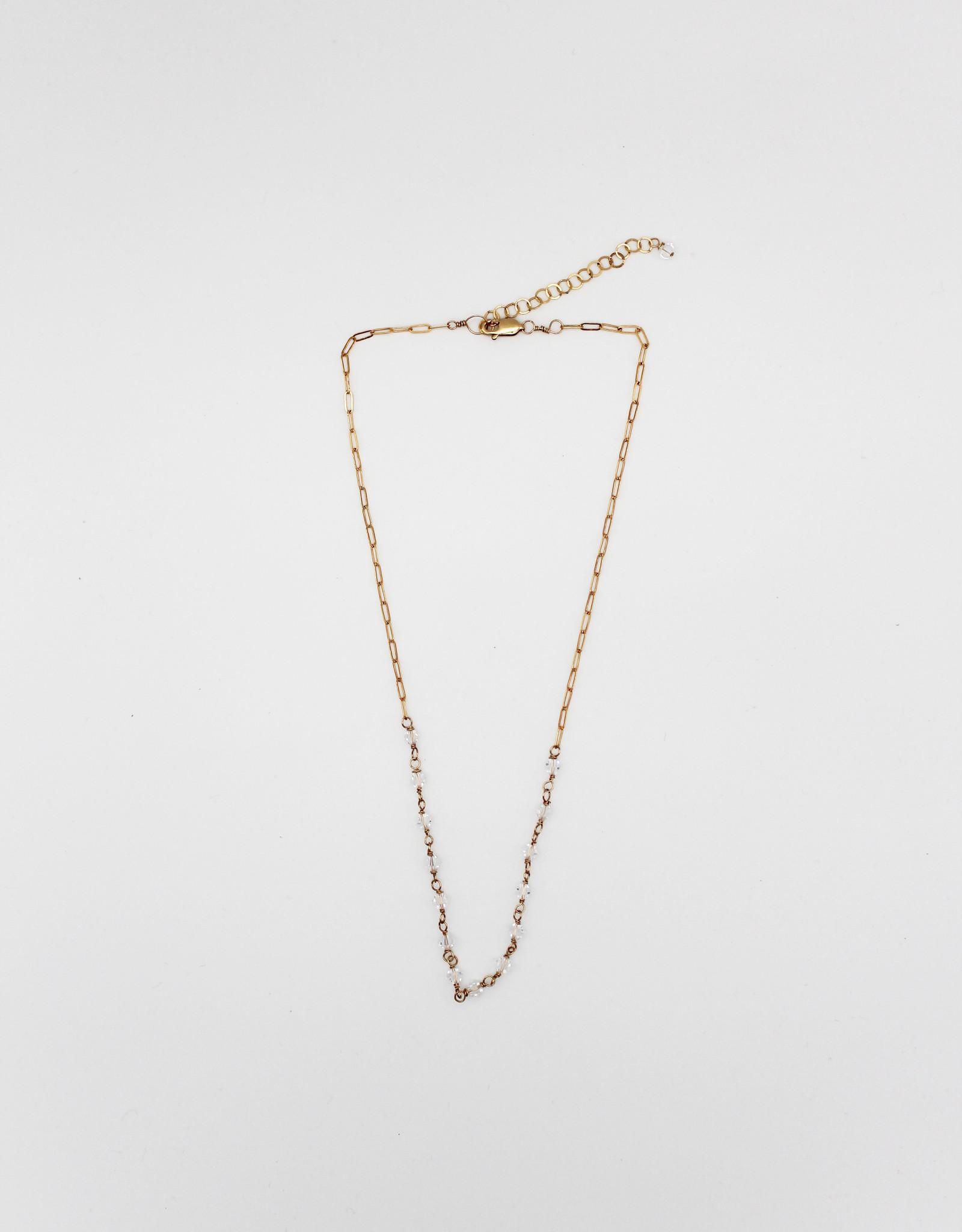 Karla Pattur KP29 Clear Swarovski Crystal 14K Fill Necklace