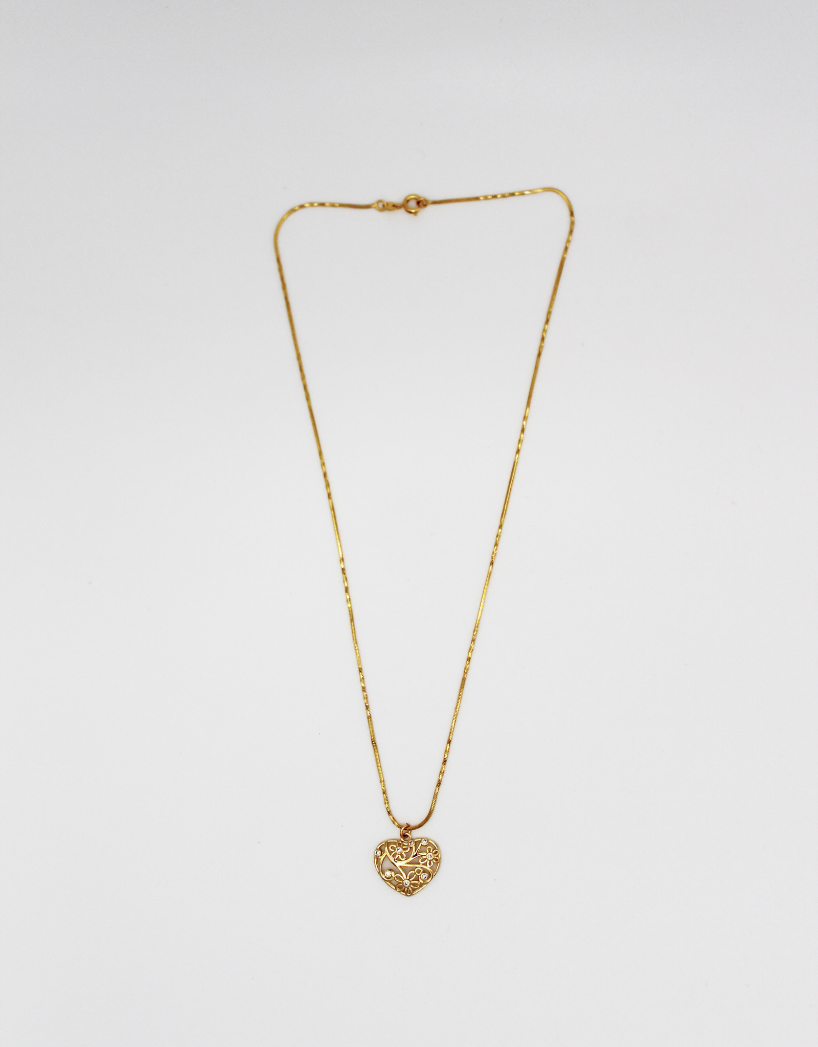 Madison Richey MR18 Heart With Flowers Gold Filled Necklace