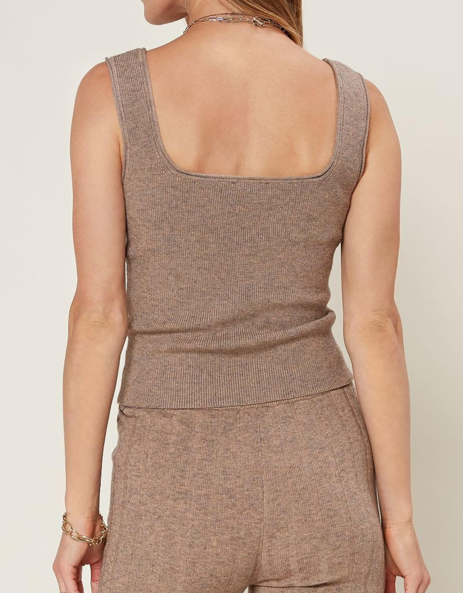 Current Air 2031022 Square Neck Ripped Knit Tank