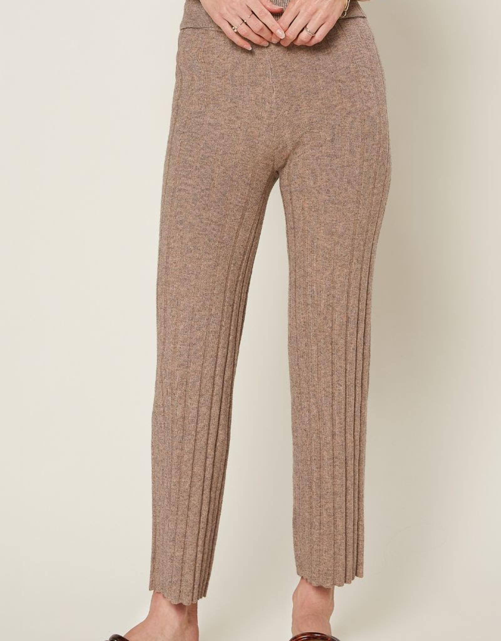 Current Air 2070248 Melange Flared Ribbed Knit Pants